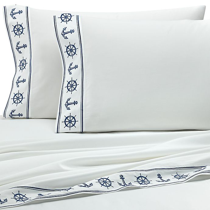 Alternate image 1 for Coastal Life Luxe 300-Thread-Count Anchors California King Sheet Set in Blue