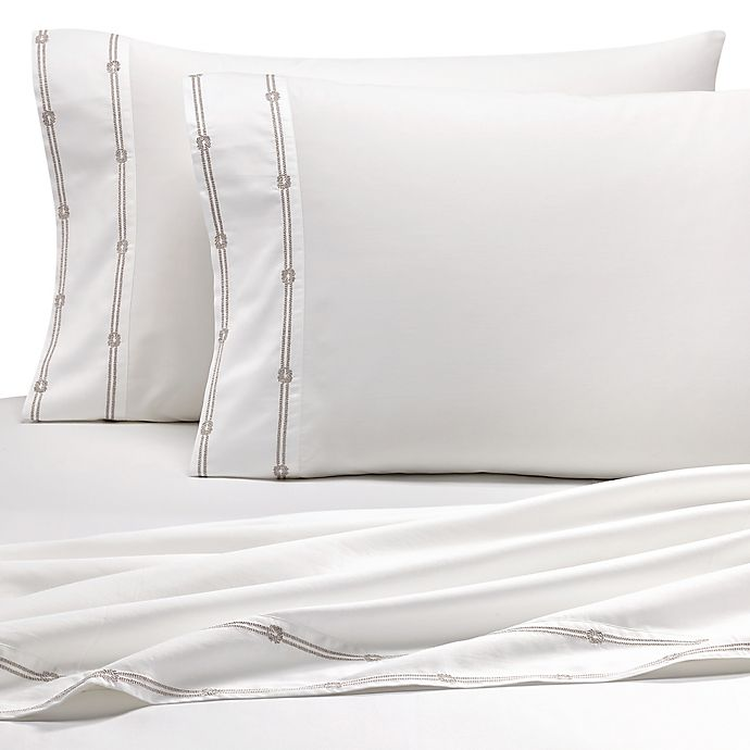 Alternate image 1 for Coastal Life Luxe 300-Thread-Count Rope California King Sheet Set in Taupe/White