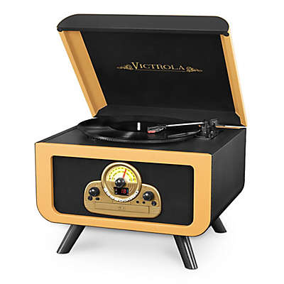 Victrola™ 5-in-1 Vintage Tabletop Record Player with Bluetooth® and CD Player in Black/Gold