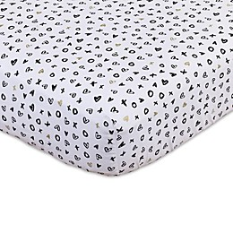 NoJo® XOXO Fitted Crib Sheet in White/Gold