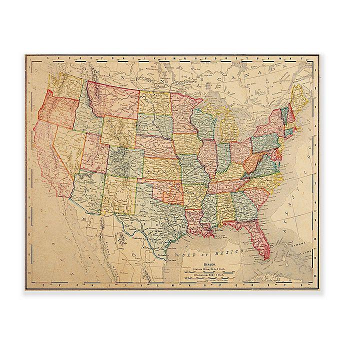 Vintage U.S. Map 20-Inch x 24-Inch Metal Wall Art | Bed Bath & Beyond