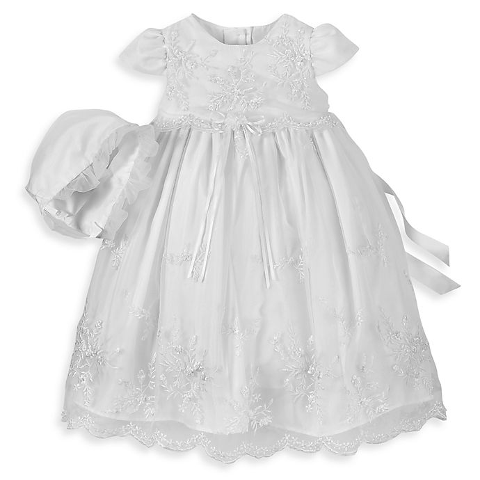 b30ab2ddc Girl's Long Christening Dress with Floral Embroidery by Lauren Madison