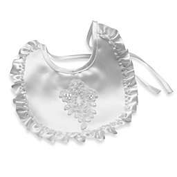 Girl's Pearl and Sequin Applique Christening Bib by Lauren Madison