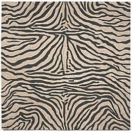Liora Manne Zebra 8-Foot Square Indoor/Outdoor Area Rug in Black