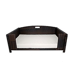 Iconic Pet Rattan Rectangular Pet Sofa in Brown/Sand