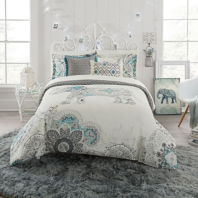 Alternate image 1 for Anthology™ Kiran Reversible Comforter Set in White/Grey