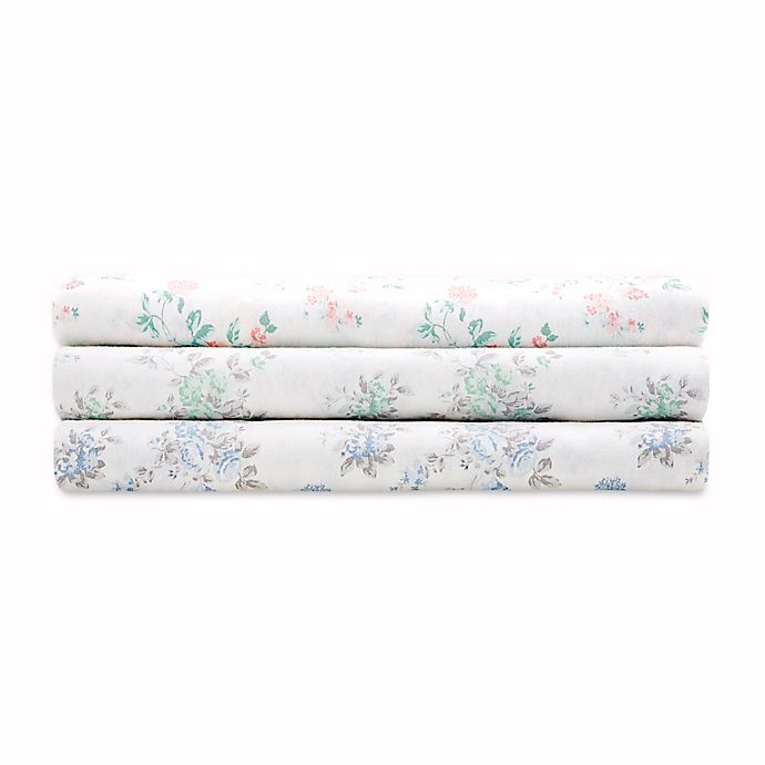 Alternate image 1 for Madison Park Comfort Wash Floral Sheet Set in Aqua