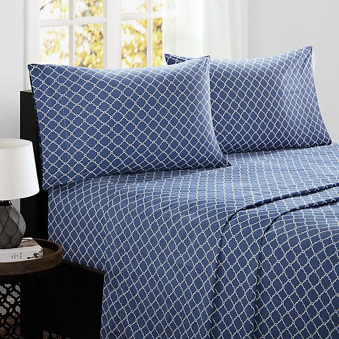 Alternate image 1 for Madison Park Fretwork Cotton King Sheet Set in Navy