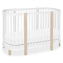 Babyletto Hula Convertible Oval Crib/Mini Bassinet in White/Natural