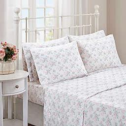 Madison Park Comfort Wash Floral Sheet Set in Aqua
