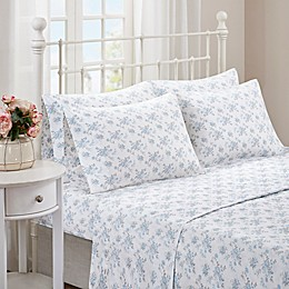 Madison Park Comfort Wash Floral Sheet Set in Aqua