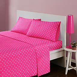 Mi Zone Polka Dot Queen Sheet Set in Dark Pink