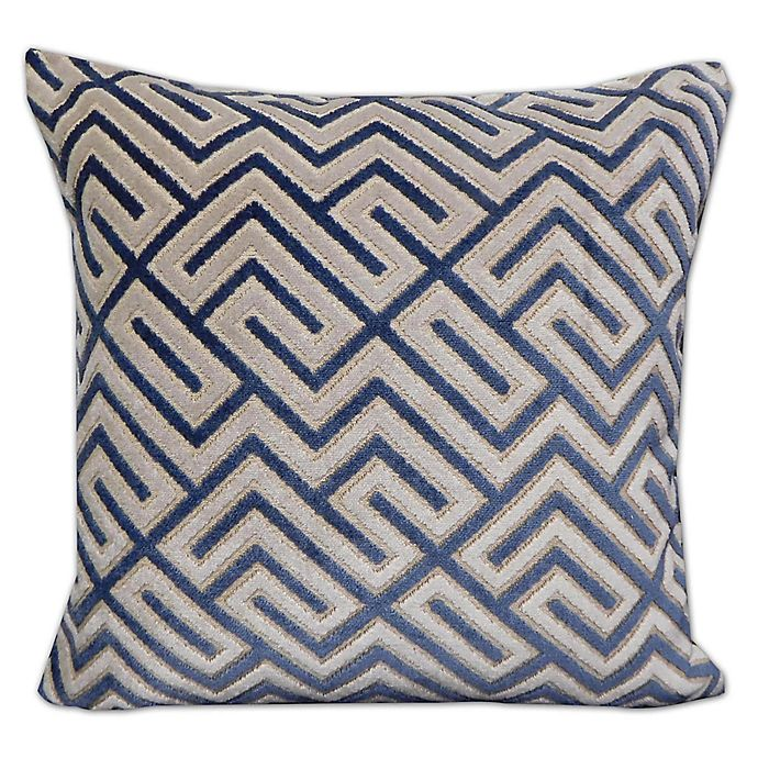 Alternate image 1 for Greek Key Velvet Throw Pillow in Blue