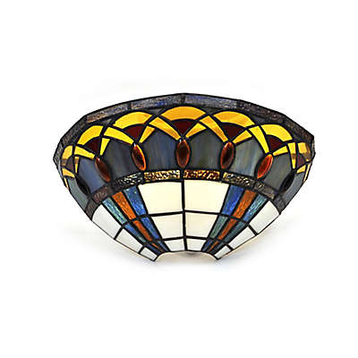 It's Exciting™ Lighting Half Moon with Jewels LED Stained Glass Wall Sconce with Remote