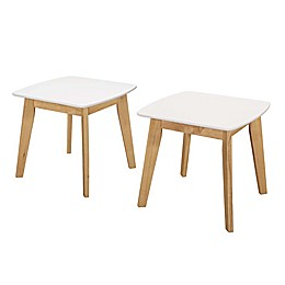 Forest Gate  Lisa Mid-Century Modern End Tables in White/Natural (Set of 2)
