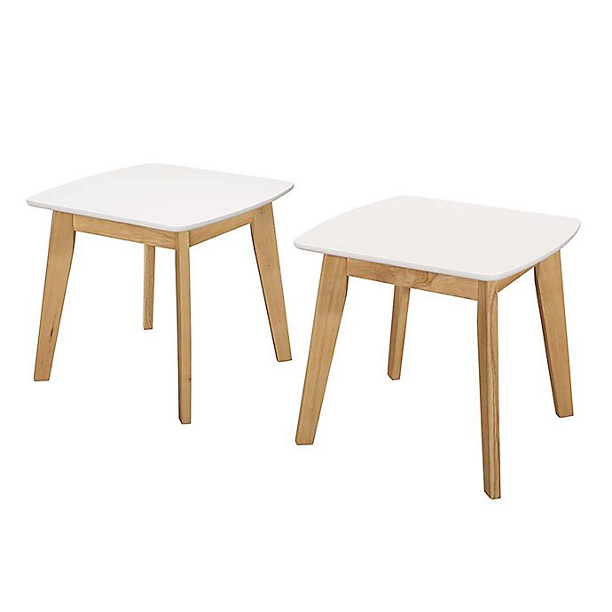 Alternate image 1 for Forest Gate  Lisa Mid-Century Modern End Tables in White/Natural (Set of 2)
