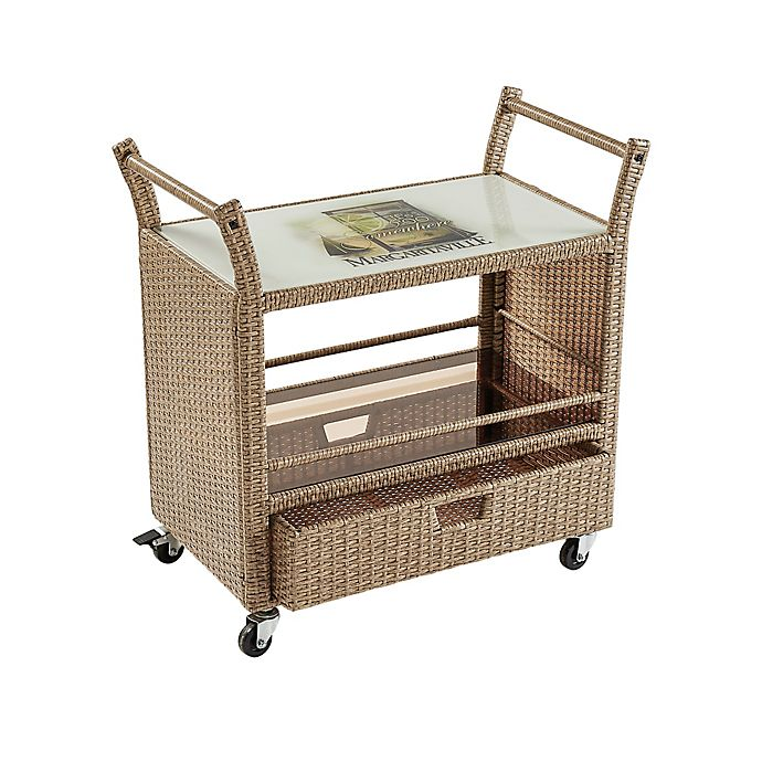 Alternate image 1 for Margaritaville® Rolling Wicker Bar Cart in Brown