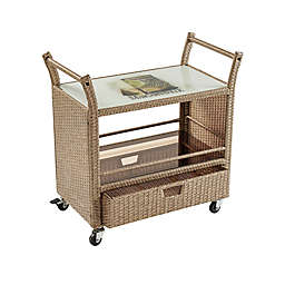 Margaritaville® Rolling Wicker Bar Cart in Brown