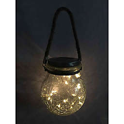 Great Solar Hanging Outdoor Cracked Glass LED Jar Lantern with Hemp Rope