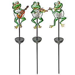 Solar Frog Stakes with Cracked Glass Globe (Set of 3)