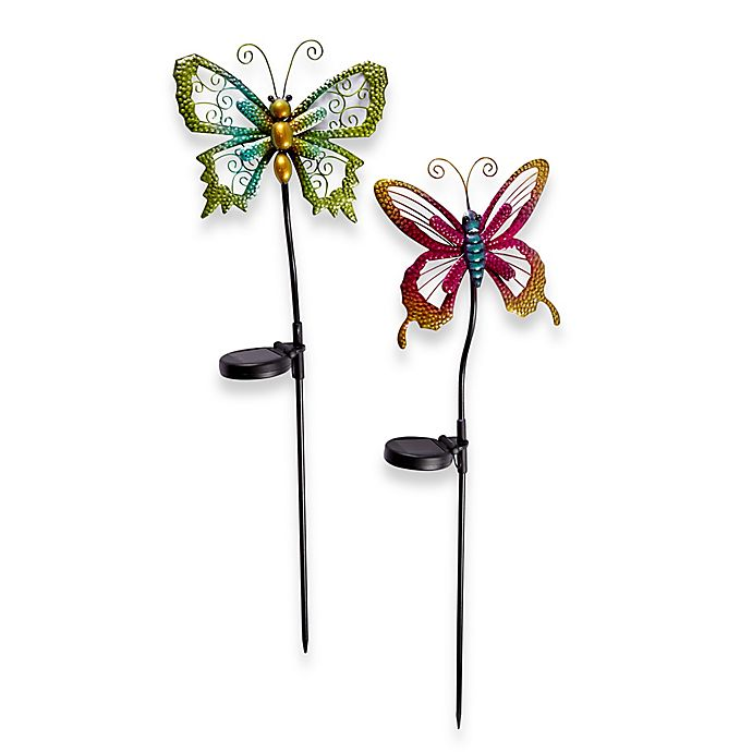 Alternate image 1 for Solar Powered Micro LED Butterfly Stake Lights (Set of 2)