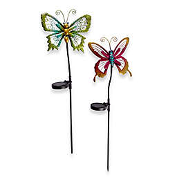 Solar Powered Micro LED Butterfly Stake Lights (Set of 2)