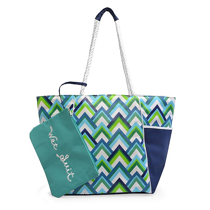 Alternate image 1 for Insulated Beach Tote with Wet Suit Pouch in Chevron