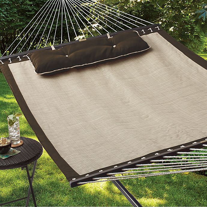 Quick Dry Woven Hammock With Pillow In Tan Bed Bath Amp Beyond
