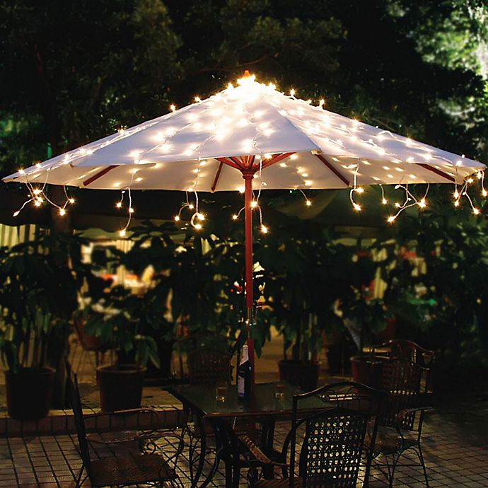 Solar Umbrella String Lights In White Bed Bath Amp Beyond
