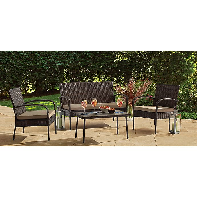 4 Piece Wicker Chat Set In Brown Bed Bath And Beyond Canada