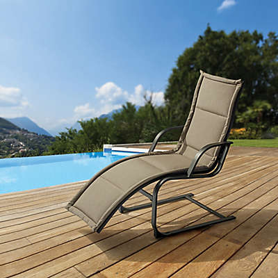 Destination Summer Padded Spring Lounger in Taupe