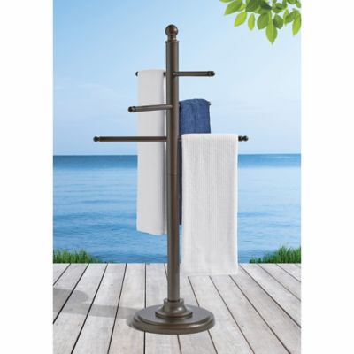 destination summer outdoor aluminum towel bar in brown bed bath beyond