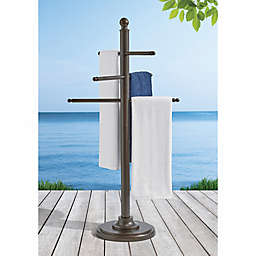 Barrington Outdoor Aluminum Towel Bar in Brown