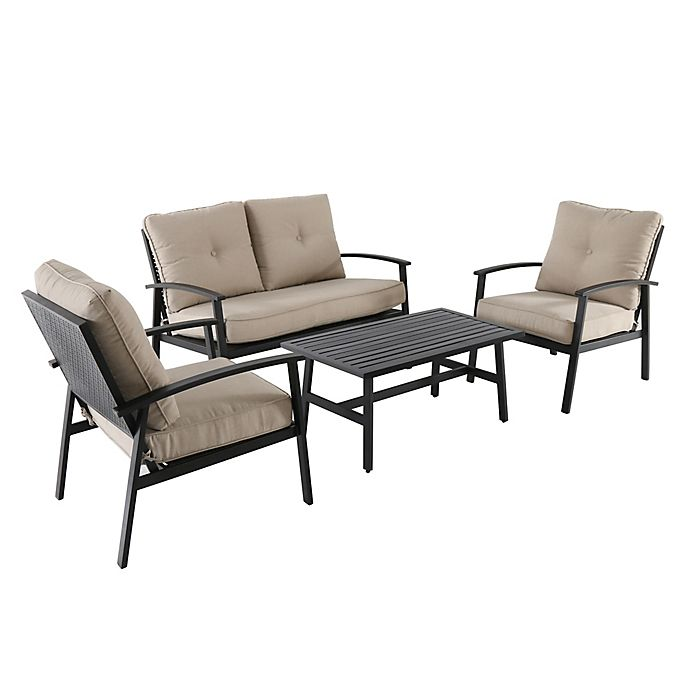 Alternate image 1 for 4-Piece Punch Metal Back Furniture and Seating Set