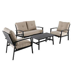 4-Piece Punch Metal Back Furniture and Seating Set