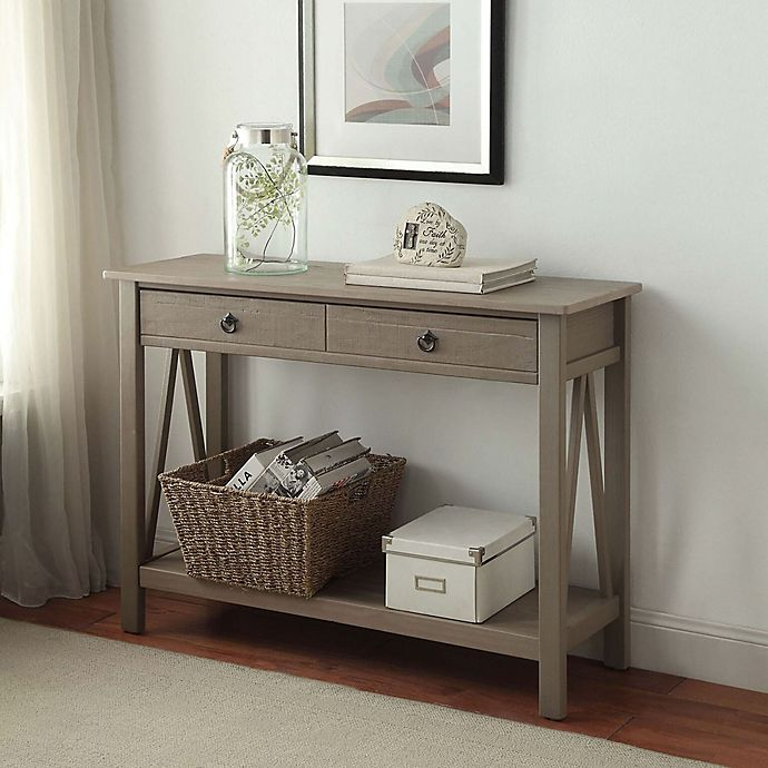 Titian Pine Console Table in Rustic Grey   Bed Bath & Beyond