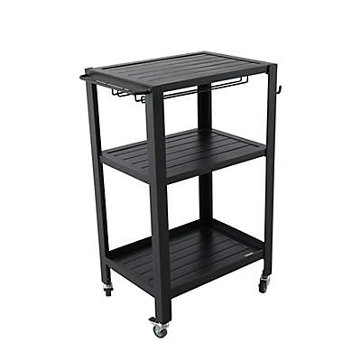 Outdoor Aluminum Serving Cart in Brown