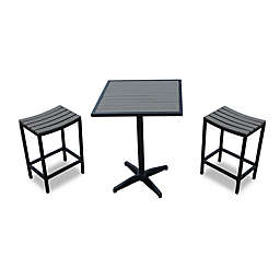3-Piece Modern Balcony Bistro Set in Black