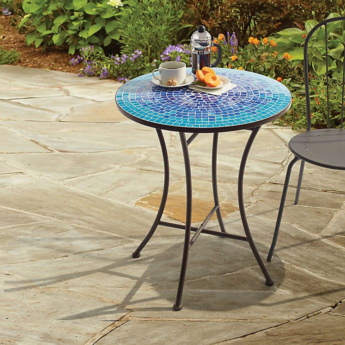 Outdoor Mosaic Bistro Table In Blue