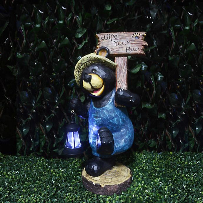 Alternate image 1 for Solar Welcome Bear with Lantern