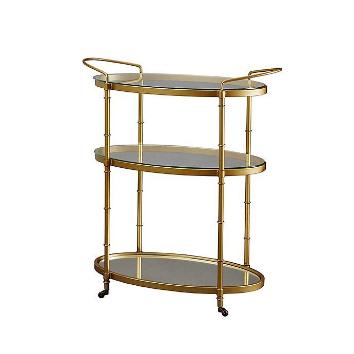 Overstock Bar: Madison Park Lauren Bar Cart In Antique Gold