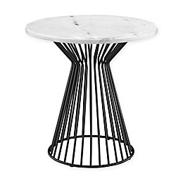 Madison Park Marbury End Table in White/Black