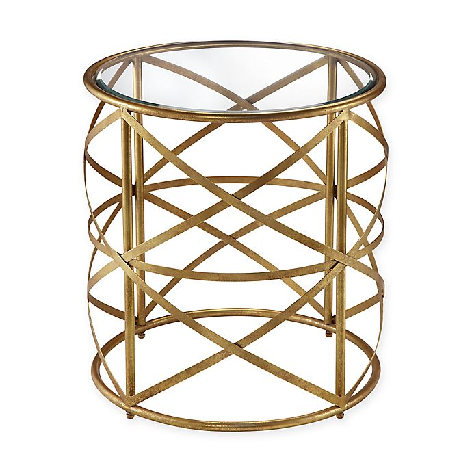 Alternate image 1 for Madison Park Nora Metal Drum Table in Gold