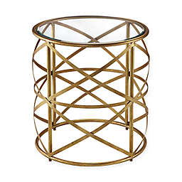 Madison Park Nora Metal Drum Table in Gold