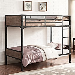 Forest Gate Rustic Industrial Twin-Over-Twin Bunk Bed in Brown