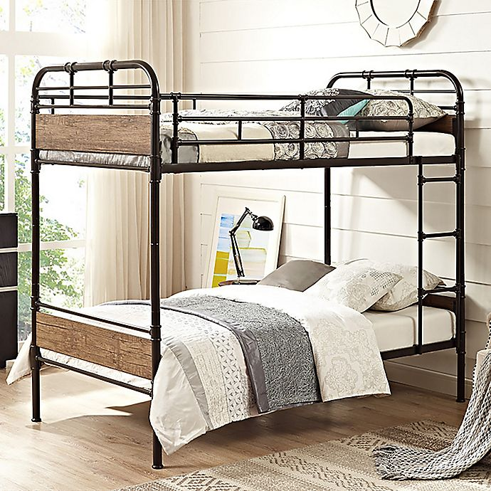 Alternate image 1 for Forest Gate Rustic Industrial Twin-Over-Twin Bunk Bed