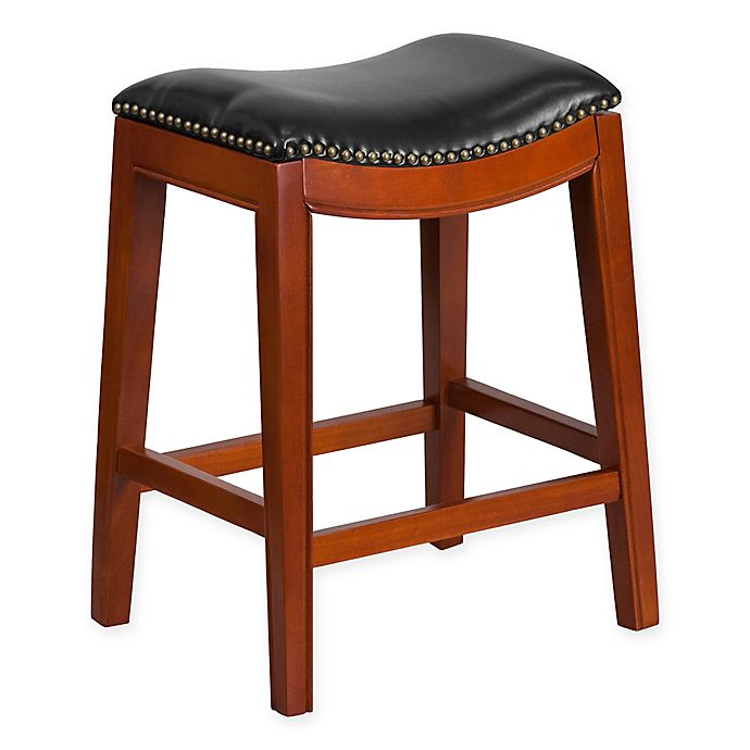Alternate image 1 for Flash Furniture Wood 26-Inch Backless Counter Stool in Black/Cherry