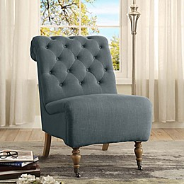 Cora Linen Roll Back Tufted Chair