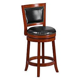 Flash Furniture Padded-Back Swivel Stool in Cherry/Black