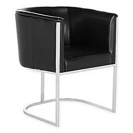 Safavieh Couture Shiloh Leather Tub Chair in Black